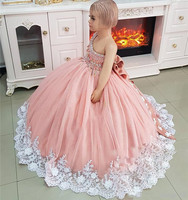 Luxury Crystals Girls Pageant Dresses Ball Gown 3D Floral Crystals Toddler Infant Clothes Little Girls Birthday Gown with Bow