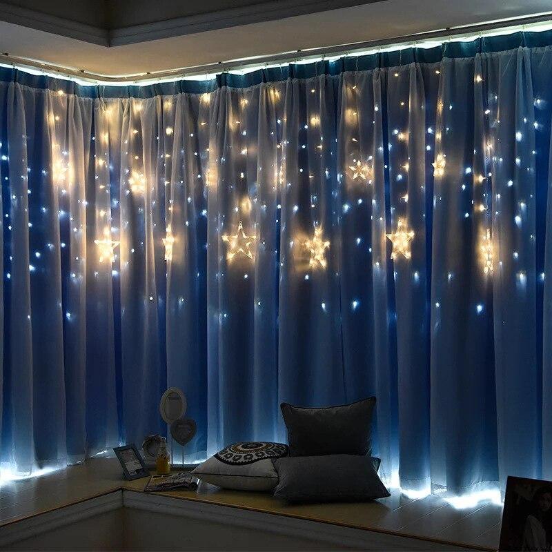 Рождественские огни для дома и улицы EU Plug 220V лампа луна звезды гирлянды светодиодные украшения для вечерние свадебные праздничные декорати...