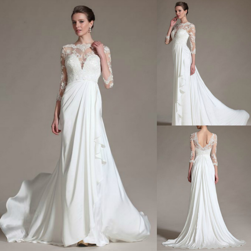 Strapless Thermal Imager Strapon Features Closure Vestidos De Novia Lace Three Quarter Sleeve 2018 Mother Of The Bride Dresses