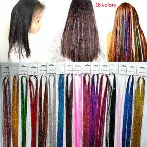 Блестящие блестящие волосы, накладные пряди волос, вечерние аксессуары, блестки для волос, популярные в США, Мексике, Европе, 1 упаковка/цвет,...