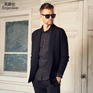 Image 2 - Enjeolon marque hiver à manches longues tricoté Cardigan chaud pull homme vêtements solide vêtements pull de grande taille MY3218