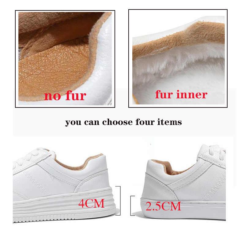Moda beyaz bölünmüş deri kadın tıknaz ayakkabı beyaz ayakkabı Lace Up Tenis Feminino Zapatos De Mujer platformu kadın rahat ayakkabı