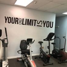 Grande seu único limite é você adesivo de parede ginásio escritório inspirador motivacional citação decalque da parede exercício exercício vinil casa dec