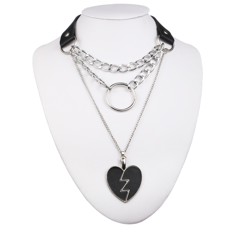 Gothic Lock Chain necklace multilayer Punk choker collar goth pendant necklace women black leather emo Kawaii