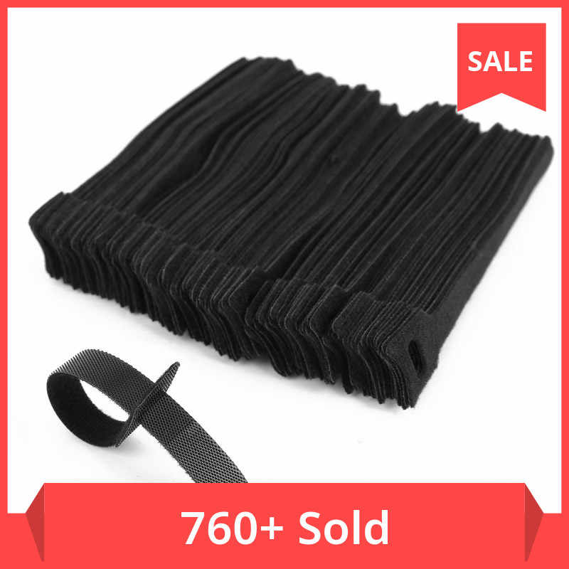 50x Cable Velcro M Eyelet 200 x 20 MM Black Cable Velcro Cable Ties Velcro Straps