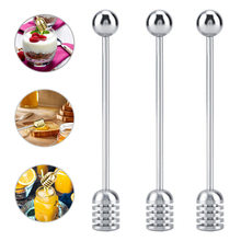 1Pc Honey Mesuring Spoon Stainless Steel Curved And Straight Handle Metal Honey Stick Kitchen Cooking Measuring Tool