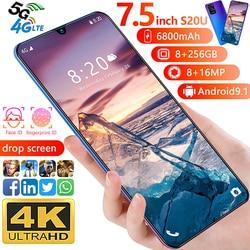 Téléphone portable Galay S20U 7.5 Version mondiale 6800mAh 8GB RAM 256GB ROM 10 cœurs Snapdragon 855 4G LTE téléphone intelligent Android double SIM
