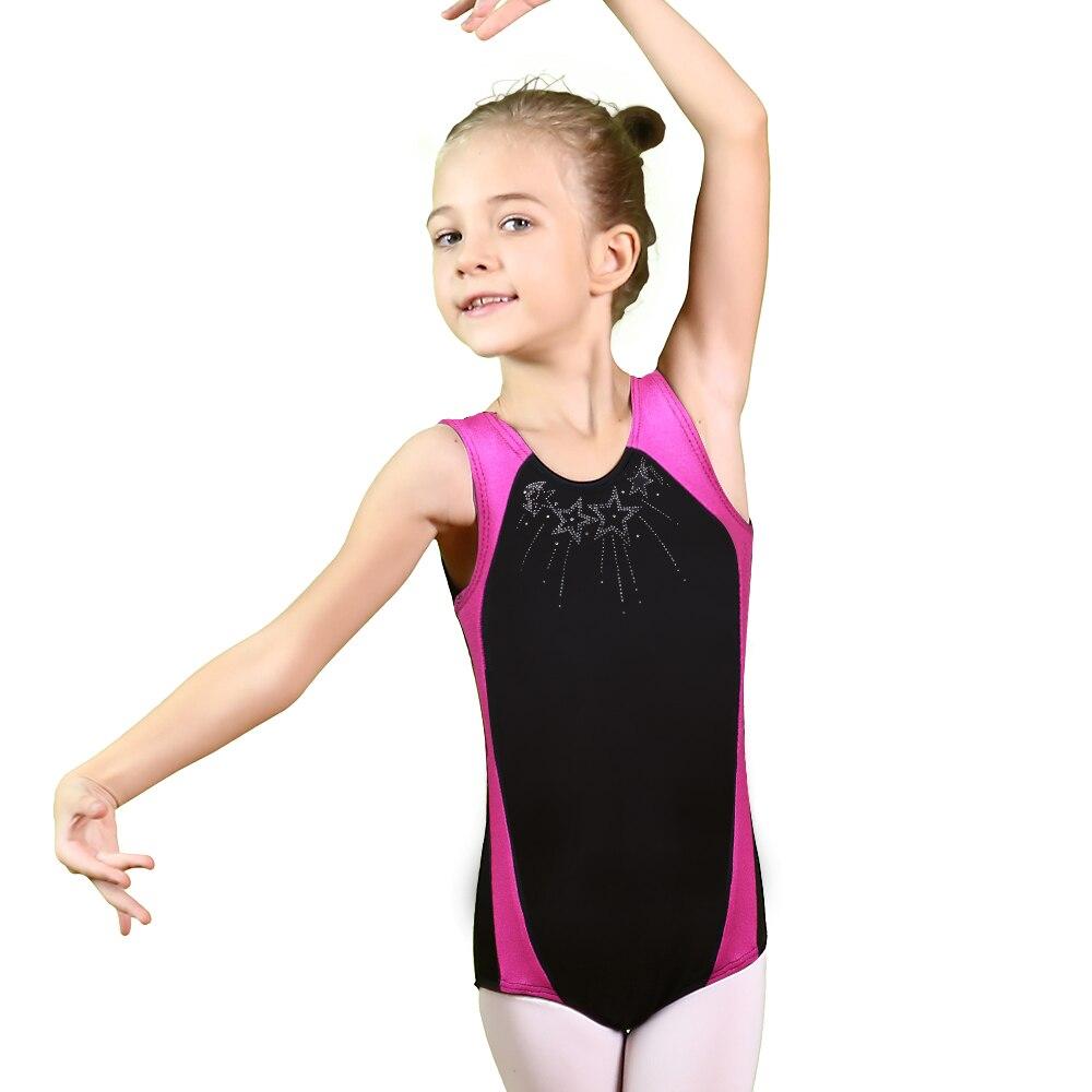 BAOHULU 3-12 Years Toddler & Teens Girls Ballet Gymnastics Leotard Gold Foiled Sleeveless Children Ballet Leotard Dance Customs