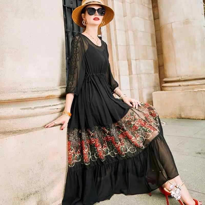 2020 New Summer Women Dress Hollow Out Self-cultivation Pleated Three Quarter Sleeve Embroidered Dresses Plus Size 4xl S31