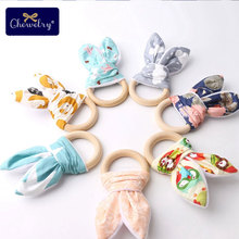 CHELWLY 12PC Baby Teether Rodent Cotton Bunny Ear Maple Teething Ring B