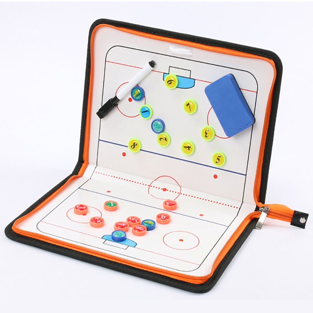 PU Leather Ice Hockey Equipment Coaching Practical Tactical Board Training Ball Clipboard Colorful Zippered Portable Magnetic