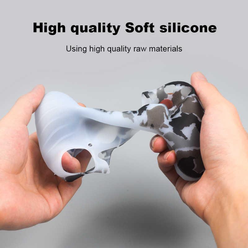 Lembut Fleksibel Penutup Silikon Case Pelindung Kulit Untuk Play Station 4 PS4 Pro Slim dengan Lampu LED Bar Stiker 2 Pcs grip + Led Kulit