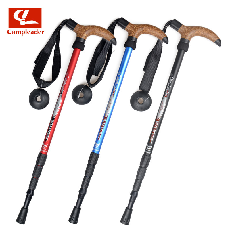 Ultra-Light 7075 Alpenstock 4-Section Crutches Walking Hiking Wand Sleeves Handle Four Sections Alpenstock Cane