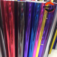 Non stretchable Black Red Rose Gold Purple Blue Mirror Chrome Vinyl Foil Car Wraps Film For Car Wrapp 1.52*30m/Roll