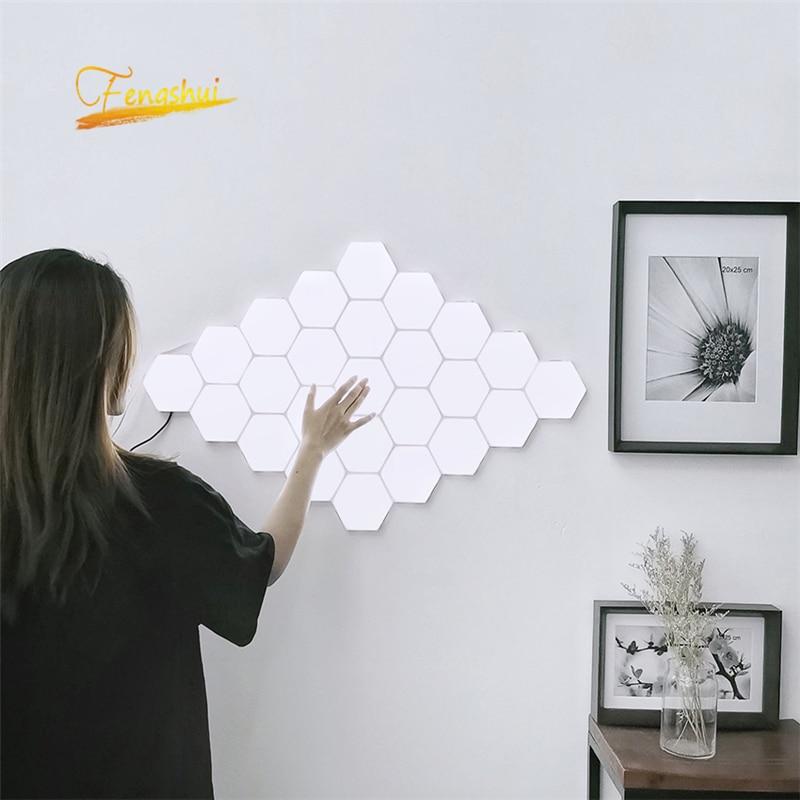 Modern LED Night Light Quantum Lamp Touch Sensitive Lighting Magnetic Hexagons Corridor Decor Night Lamp Bedroom Bedside Lamp