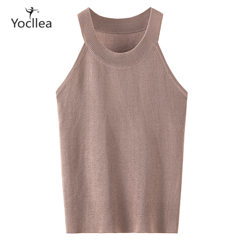 Tank Tops Women Ice Silk Knitted  Solid Sleeveless Vest Sexy All-match Basic O-neck Tops For Women Femme Office Lady Clothing