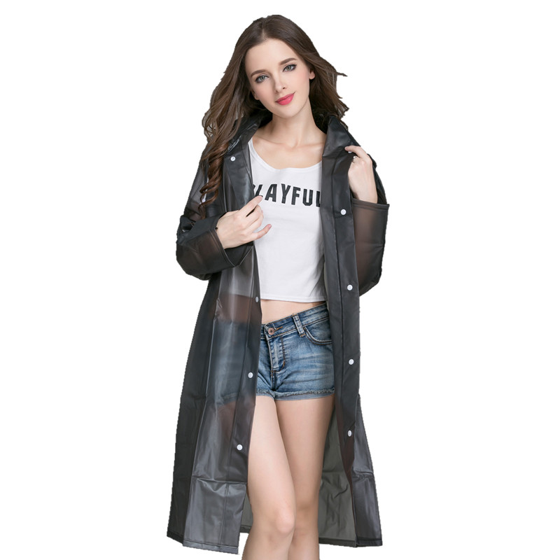 Travel Waterproof Jacket Raincoat Women Plastic Black Ladies Hooded Raincoat Long Stylish Impermeable Women Rain Coat 60YY|Raincoats| |  - title=