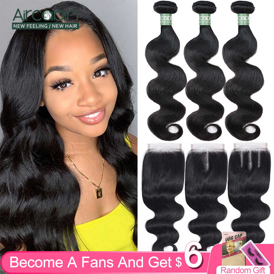 Aircabin Braziliaanse Body Wave Bundels Met Sluiting 30 Inch Remy Human Hair Extensions Dubbele Inslag Middenbruin Zwitserse Kant