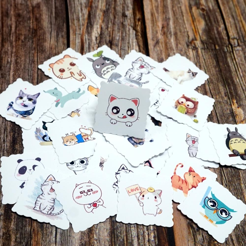 35pcs Lovely Cat Animals Waterproof Stickers Luggage Laptop Guitar Skateboard Bicycle Motorcycle Styling Decals Stickers Toy