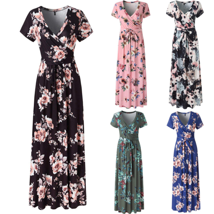2019 Spring And Summer Printed Short-sleeve Dress Europe And America Hot Selling Women's Dress Beach Long Skirts Formal Dress