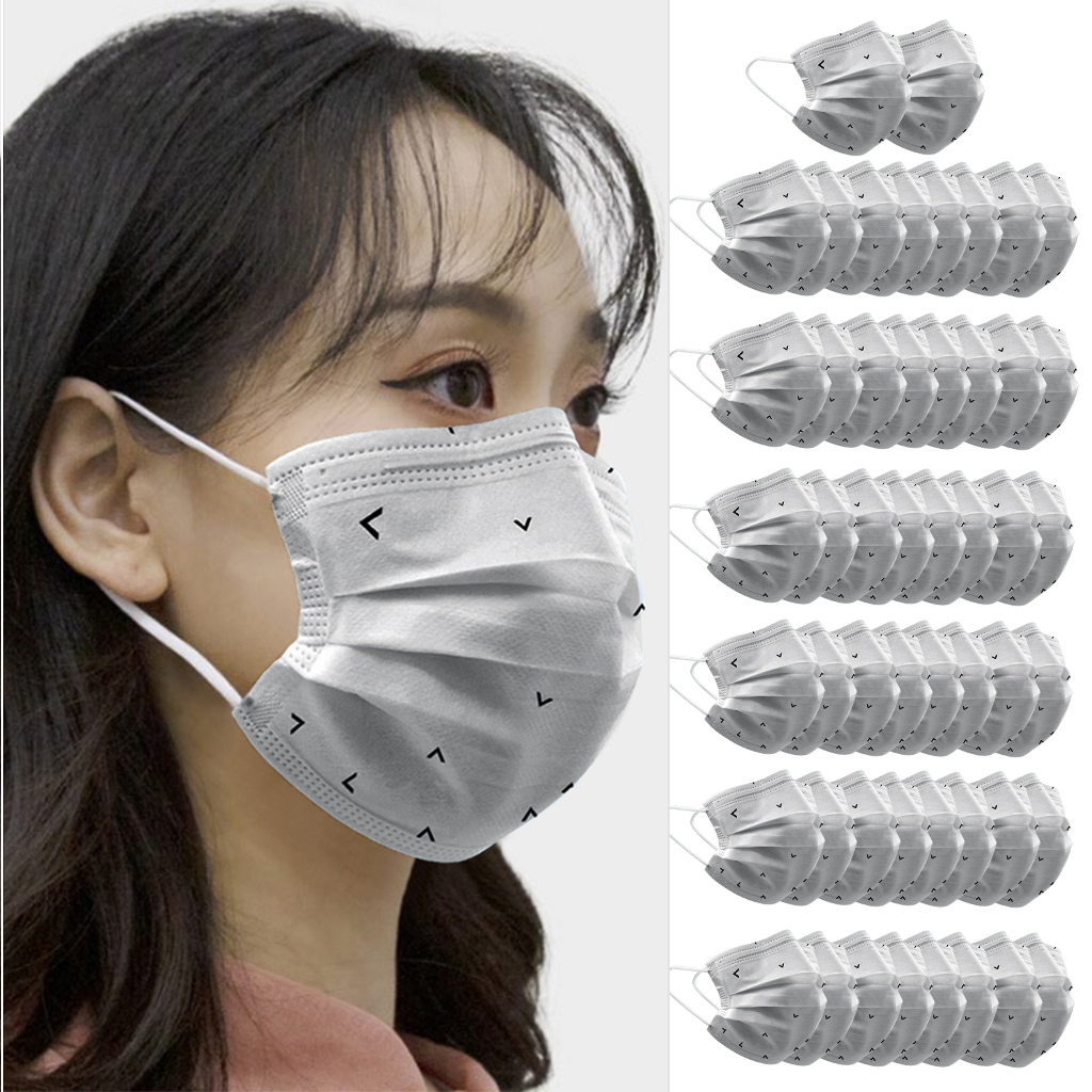 50pcs Gray Man Face Mask Adults Disposable Anti-Haze Face Mouth Mask Dustproof Gray  Protective Mask  3 Layers