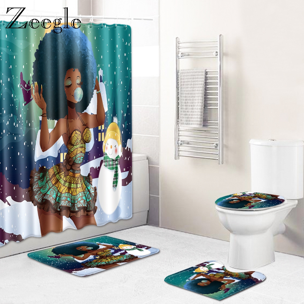 Zeegle Bath Mat Shower Curtain Set for Bathroom 4pcs Bathmat Set Printed Toilet Carpet Anti-slip Water Absorption Bath Foot Rug