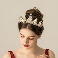 Le Liin Freshwater Pearl Bride Crown CZ Crystal Handmade Tiara Wedding Hair Accessories Bridal Headband