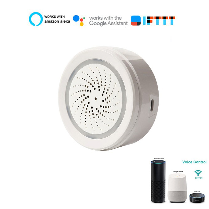 Smart Home WiFi Sound Siren Alarm Sensor USB Power Via IOS Android APP Notification Plug And Play No HUB Requirement