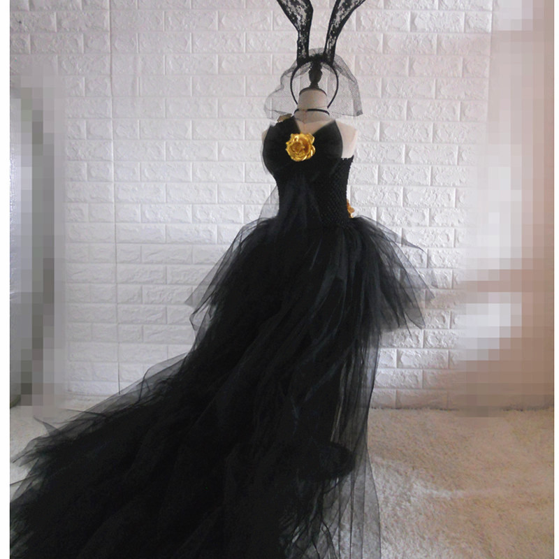 2019 GIRL'S Black Tailing Catwalks Formal Dress Children Swallow Tail Puffy Dress Dresses Of Bride Fellow Kids