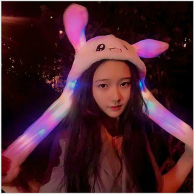 Glowing Hat Moving Ears Plush Party Girl Rabbit Hat Toy Cute Pinch Airbag Gift Cartoon Hat With Moving Ears
