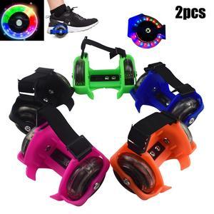 2Pcs Kid Children Outdoor Adjustable LED Flashing Wheel Heel Shoes Skate Rollers