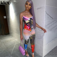 Kliou Printed Aesthetic Body Jumpsuit Women Fashion Streetwear Sexy Bra pad Backless Sleeveless Skinny Active Workout Outfits