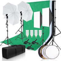Kit de iluminación Softbox para estudio fotográfico con 2,6x3 M marco de fondo 3 uds telón de fondo trípode soporte Reflector tablero paraguas