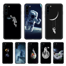 Cartoon Planet Space Astrona Phone case For Huawei P 30 10 20 40 Lite Smart Z Pro 2019 black coque fashion waterproof art cover(China)