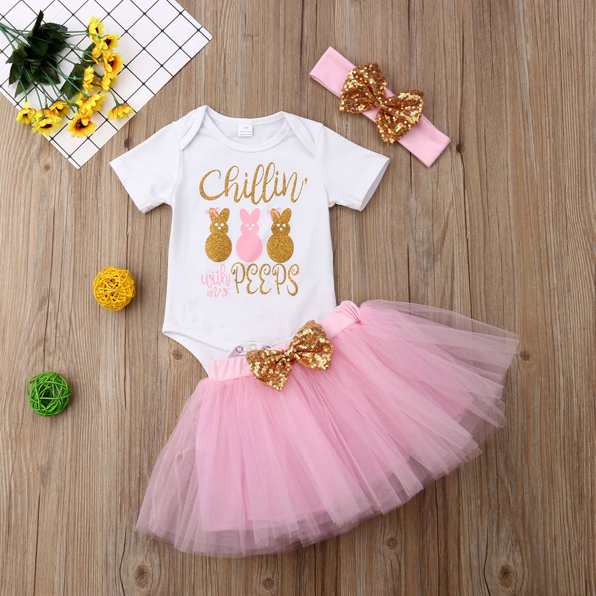 1st Birthday Outfit Baby Girls Romper+Pink Ruffle Tulle Skirt+Crown Headband Cake Smash Dress Party Costume 3Pcs Set
