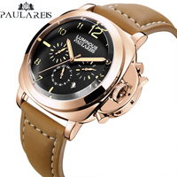Men Automatic Self Wind Mechanical Genuine Brown Leather Strap Multifunction Date Month Yellow Green Luminous Rose Gold Watch