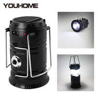 LED Lantern Light Solar Powered Outdoor Camp Tent Lamp USB Rechargeable Collapsible Emergency Light Built-in Battery Free ship
