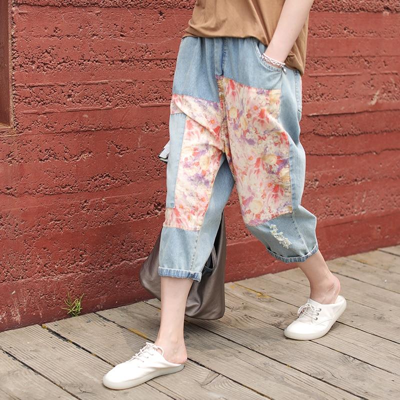 Summer Jeans Women Retro Loose Casual Denim Pants  2019 New Female Elastic Waist Pocket Spliced Vintage Trousers Streetwear