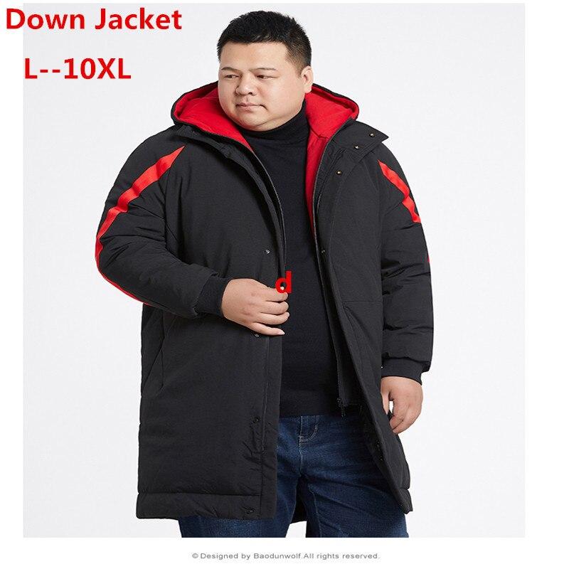 Plus 10XL 9XL 8XL 6XL 5X Brand Winter Thick Long Down Jacket Coat Men Pocket Hoodies Parka Coat Male Warm Parka Coat Down Jacket