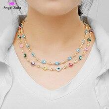 כחול עין רעה קריסטל קסם אללה שרשרת לנשים מוסלמי תכשיטים תורכי כחול עין שרשרת זהב צבע מצופה לא דהוי