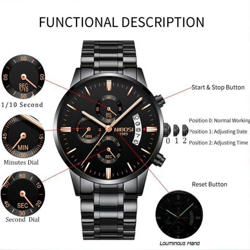Reloj de pulsera de cuarzo militar de moda para hombre de lujo de marca superior NIBOSI