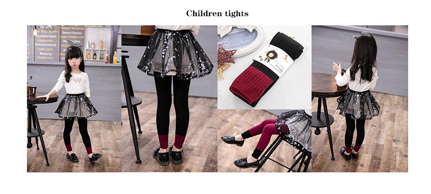 New Spring Autumn Warm Girl Leggings Knitted Cotton Baby Girls Pants Mix Color Children Kids Trousers For 1-8T 4