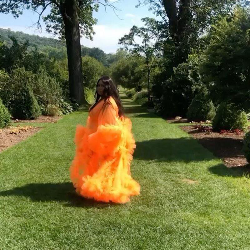 Plus Size Ruffles Celebrity Dress 2021 Full Sleeves Women Pregnant Party robe de soiree Sleepwear Maternity Photoshoot Gowns