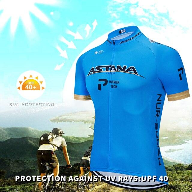 Verão 2020 astana pro equipe de ciclismo jérsei maillot bicicleta ciclismo roupas da bicicleta dos homens uniformes dos esportes montanha terno conjunto 2