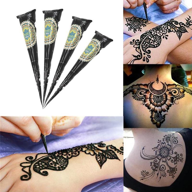 Organic Indian Henna Black Tattoo Fashion Natural Body Art Ointment Mehndi Paste Cones Colored Sticker Mehndi Body Paint