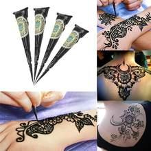 Orgânico indiano henna tatuagem preta moda natural arte do corpo pomada mehndi colar cones colorido adesivo mehndi pintura corporal