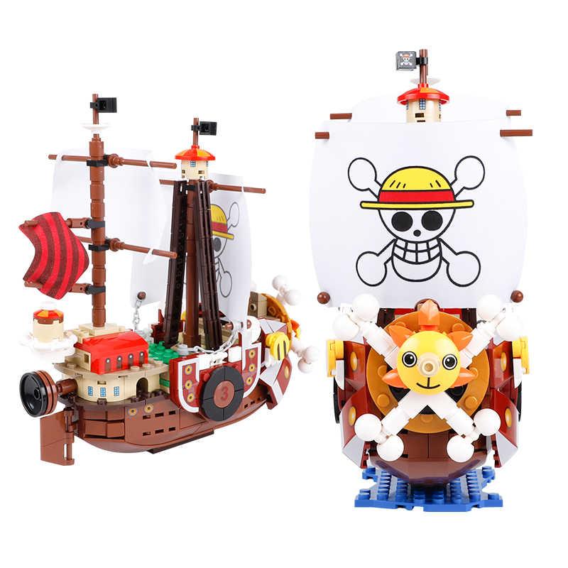 432 sztuk jeden sztuk łodzie Thousand Sunny Pirate statki Luffy bloki Model Techinc pomysł figurki klocki zabawki dla dzieci prezenty