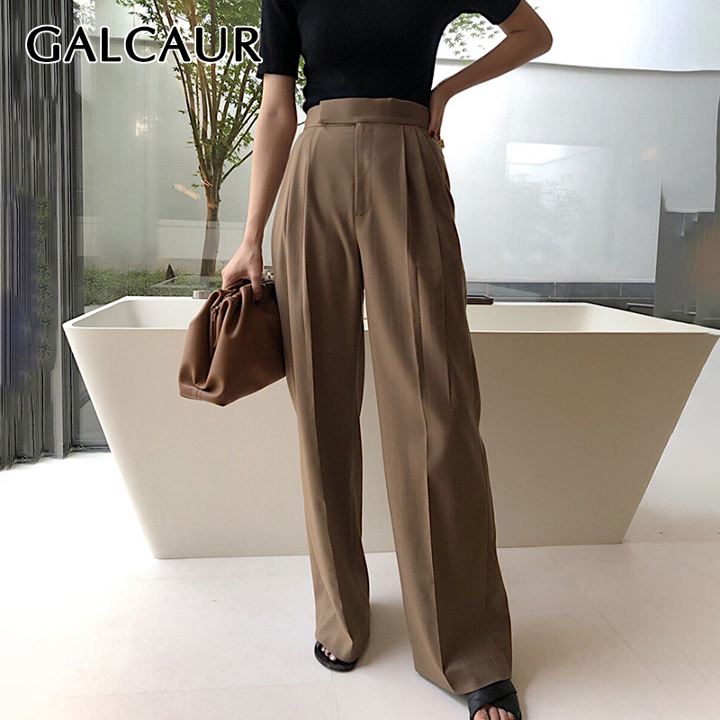 GALCAUR Vintage Loose Maxi Wide Leg Pants For Women High Waist Large Size Straight Autumn Trousers Female Fashion 2019 Clothing