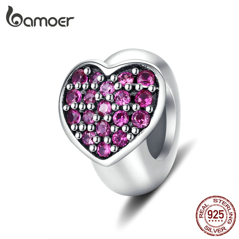 Bamoer Heart Silicone Stopper Charm For Original Silver 925 Bracelet 3mm Bangle DIY Jewelry Making DIY Accessories SCC1336