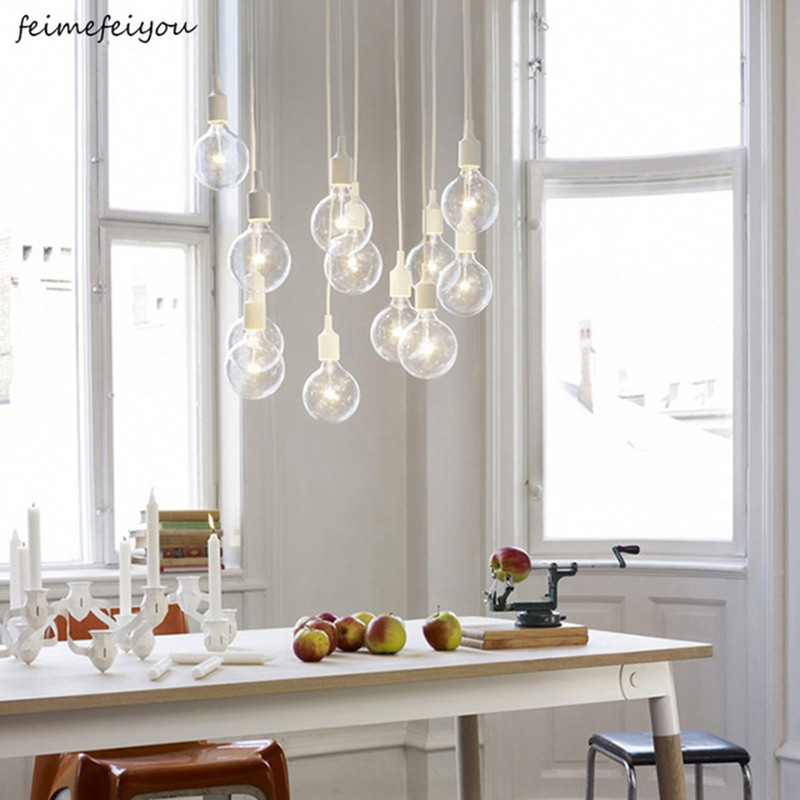 Colorful Silicone Pendant Lights E27 Holder AC90-260V Modern Fashion DIY Design Pendant Lamps 100cm Cord Hanging Lamp